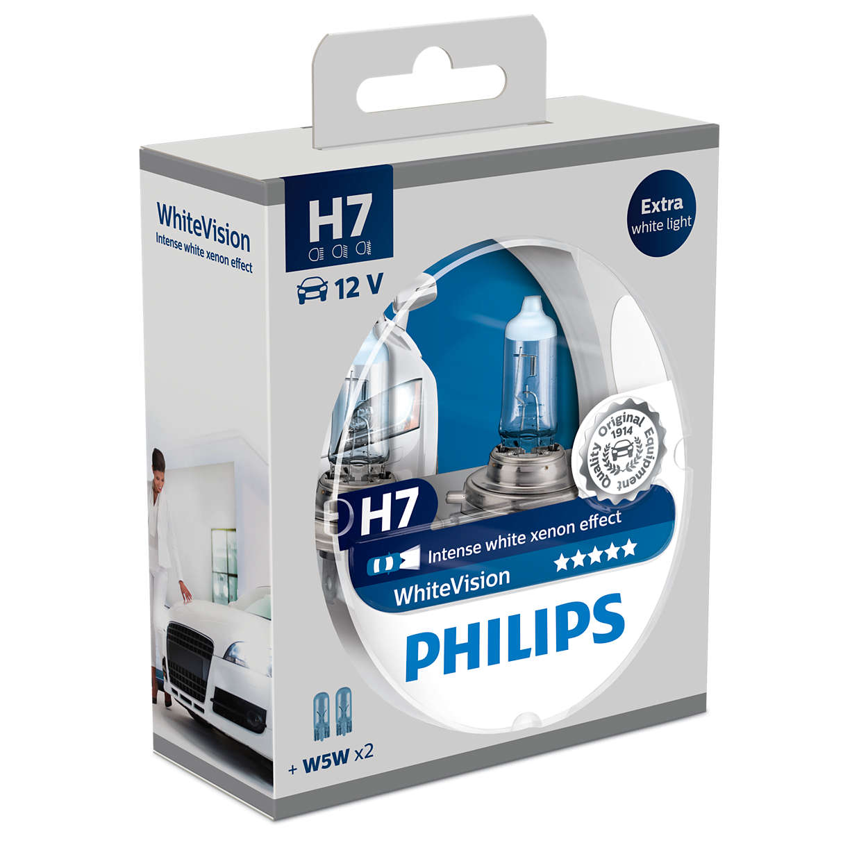 Žiarovka H7 PHILIPS WhiteVision + W5W - Set 2ks