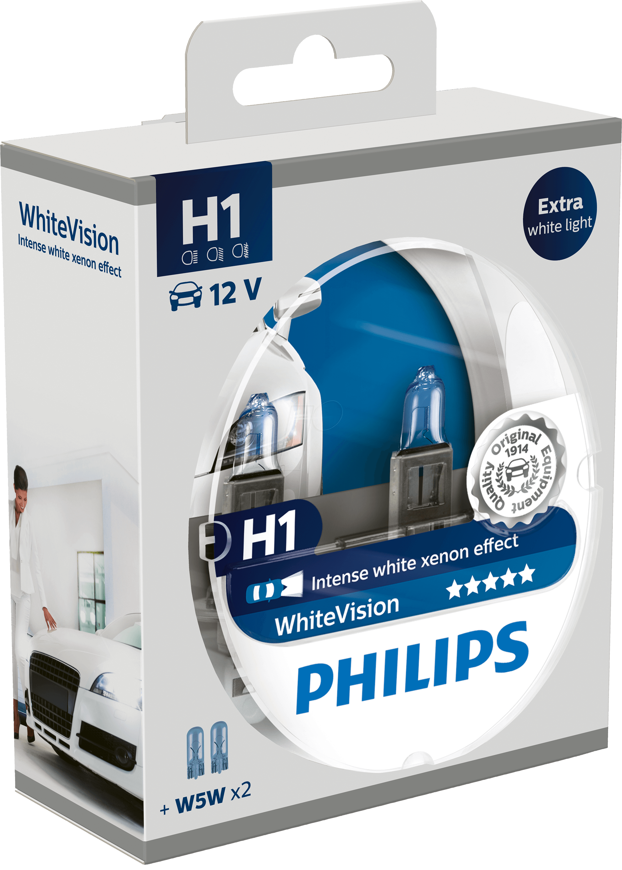 Žiarovka H1 PHILIPS WhiteVision ultra 12V xenónový efekt + W5W blue - Set 2ks