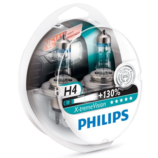 Žiarovka H4 PHILIPS X-tremeVision 12V 60/55W Set 2ks