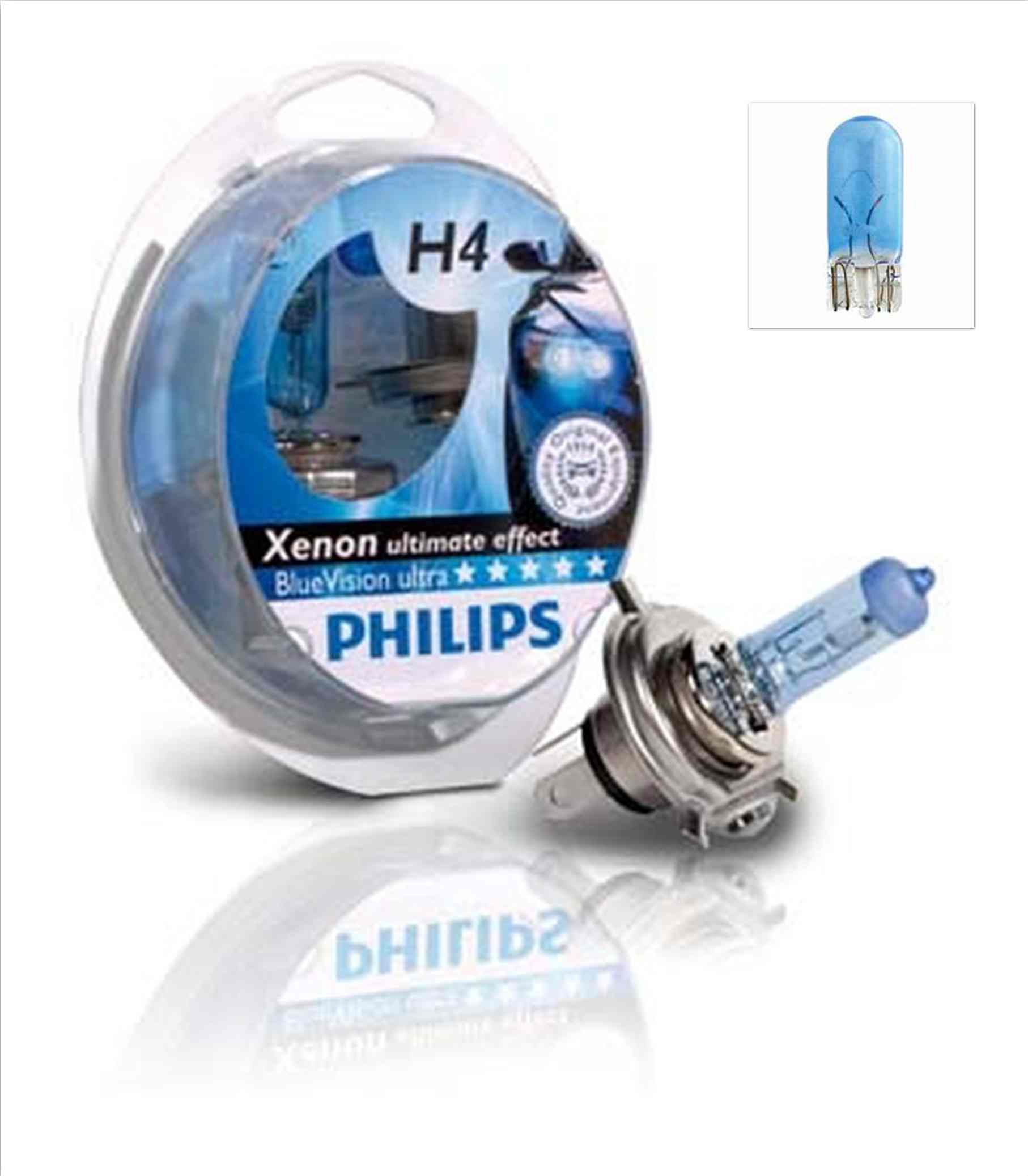 Žiarovka H4 PHILIPS BlueVision ultra 12V 60/55W + W5W - Set 2ks