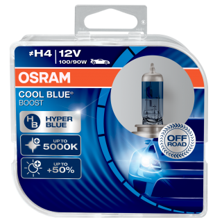 Žiarovka H4 OSRAM CoolBlue Booster 12V 100/90W HyperBlue Modrá +50% svetla - Set