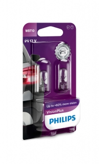 Žiarovka WBT10 6W 12V PHILIPS Vision Plus 60% svetla (W5W) - Set 2ks