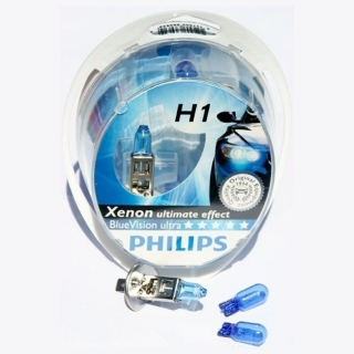 Žiarovka H1 PHILIPS BlueVision ultra 12V + W5W BlueVision - Set 2ks
