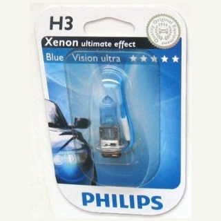 Žiarovka H3 PHILIPS BlueVision ultra 12V 55W - blister 1ks